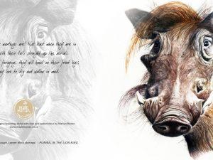 Warthog Art Card - Watercolour Painting