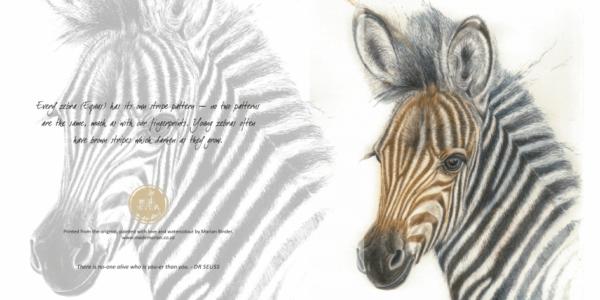 zebra foal art card mademarian